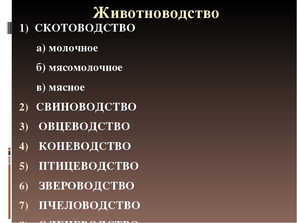 Животноводство 1) СКОТОВОДСТВО а) молочное б) мясомолочное в) мясное СВИНОВОД...