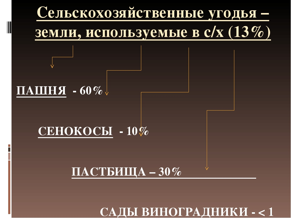 Сельскохозяйственные угодья – земли, используемые в с/х (13%) ПАШНЯ - 60% СЕН...