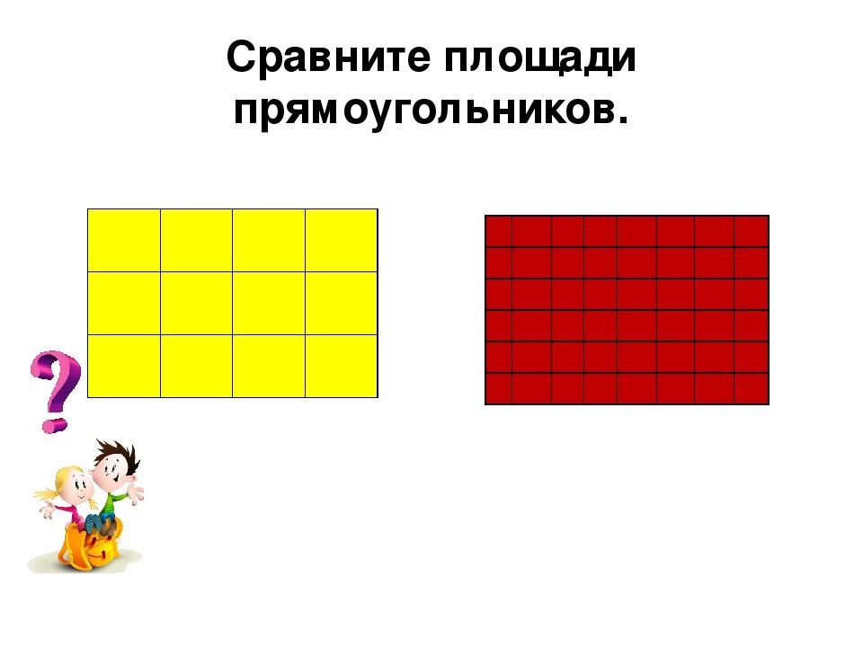 Сравните площади прямоугольников. Как измерить площади фигур?...