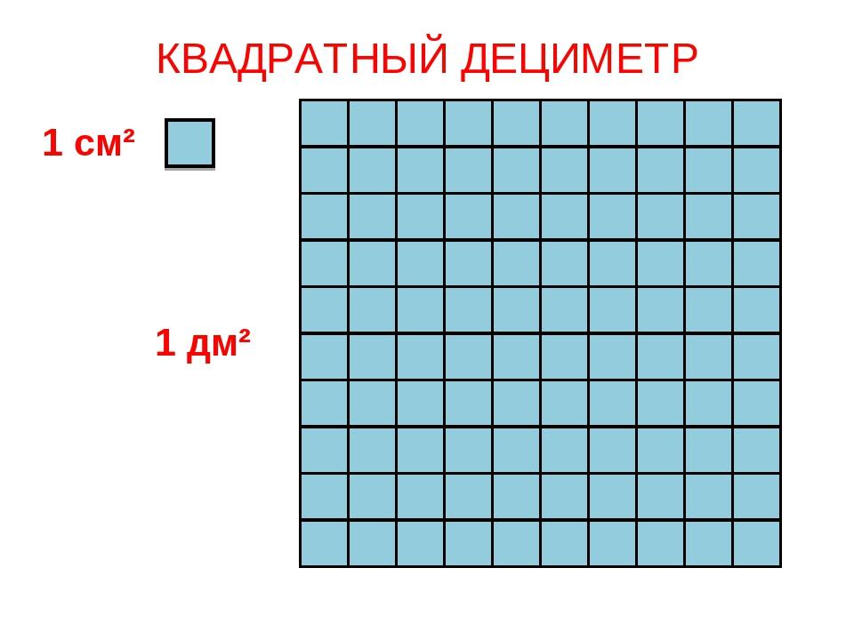 КВАДРАТНЫЙ ДЕЦИМЕТР 1 см² 1 дм²...