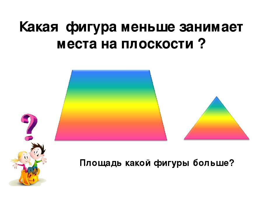 Какая фигура меньше занимает места на плоскости ? Площадь какой фигуры больше?