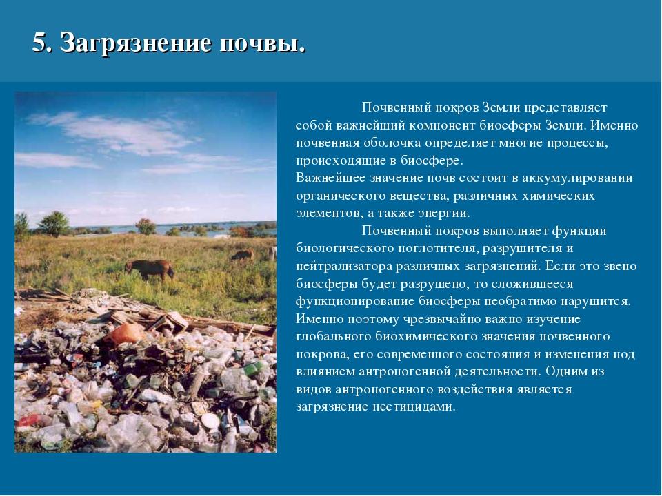 5. Загрязнение почвы. Почвенный покров Земли представляет собой важнейший ко...