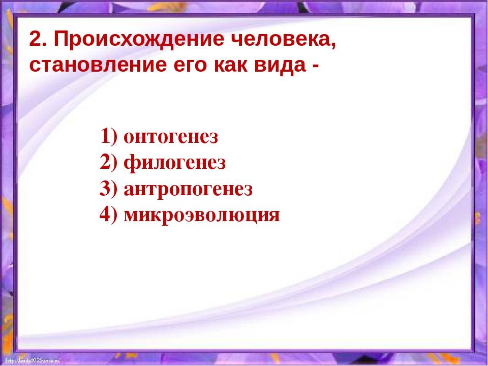 2. Происхождение человека, становление его как вида - 1) онтогенез 2) филоген...