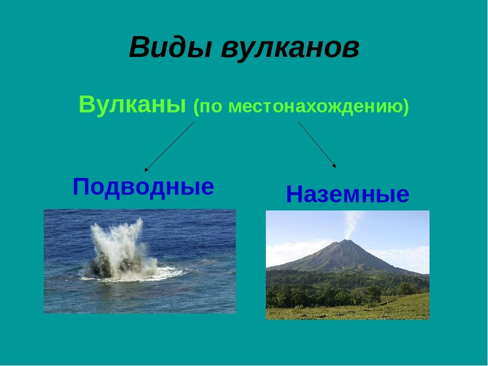 Виды вулканов Вулканы (по местонахождению) Подводные Наземные