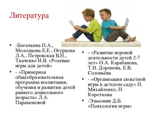 Литература -Богачкина Н.А., Молодцова Е.Е., Огурцова Л.А., Петровская В.Н., Т...