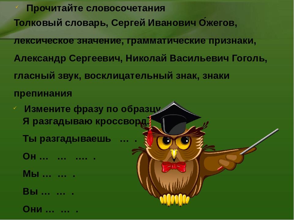 Толковый словарь, Сергей Иванович О́жегов, лексическое значение, грамматическ...