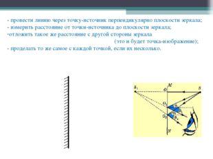 - провести линию через точку-источник перпендикулярно плоскости зеркала; - из