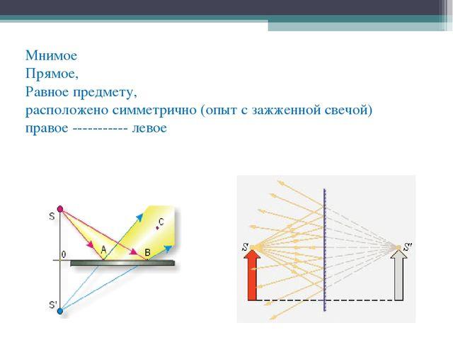 Мнимое Прямое, Равное предмету, расположено симметрично (опыт с зажженной све...