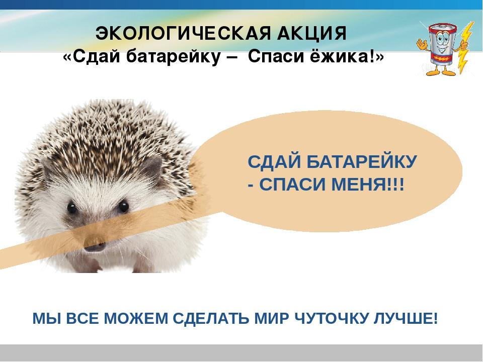 ЭКОЛОГИЧЕСКАЯ АКЦИЯ «Сдай батарейку – Спаси ёжика!» СДАЙ БАТАРЕЙКУ - СПАСИ МЕ...
