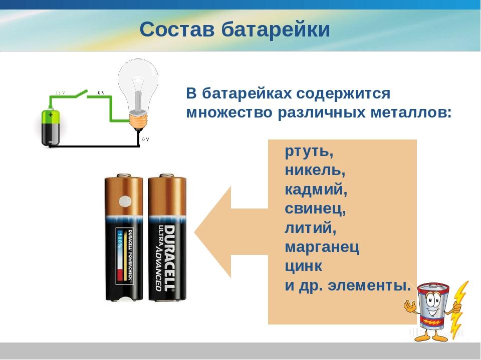 Состав батарейки В батарейках содержится множество различных металлов: ртуть...
