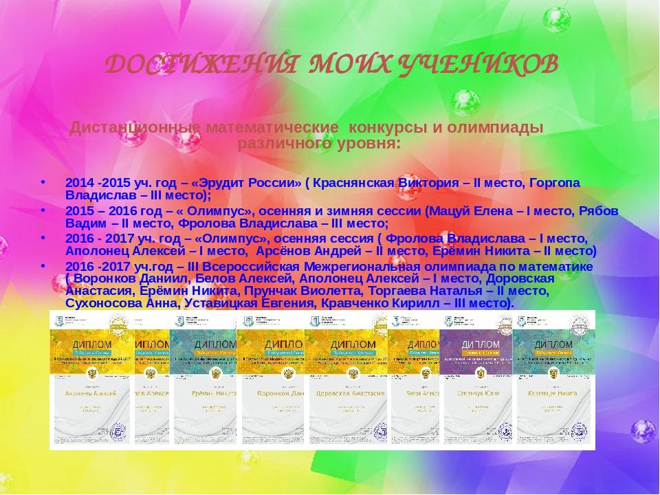 Математические конкурсы в россии