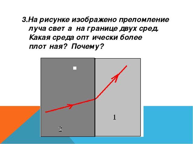 3.На рисунке изображено преломление луча света на границе двух сред. Какая ср...