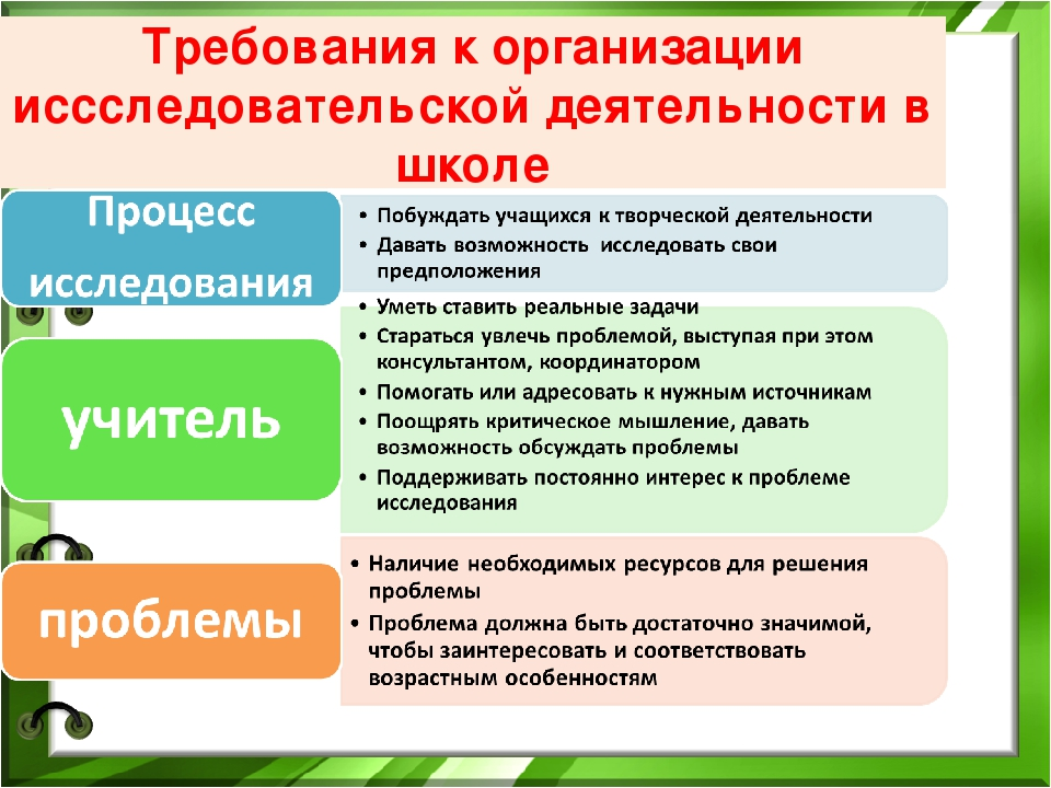 Требования к организации иссследовательской деятельности в школе