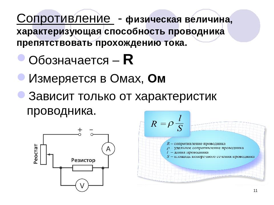 * Сопротивление - физическая величина, характеризующая способность проводника...