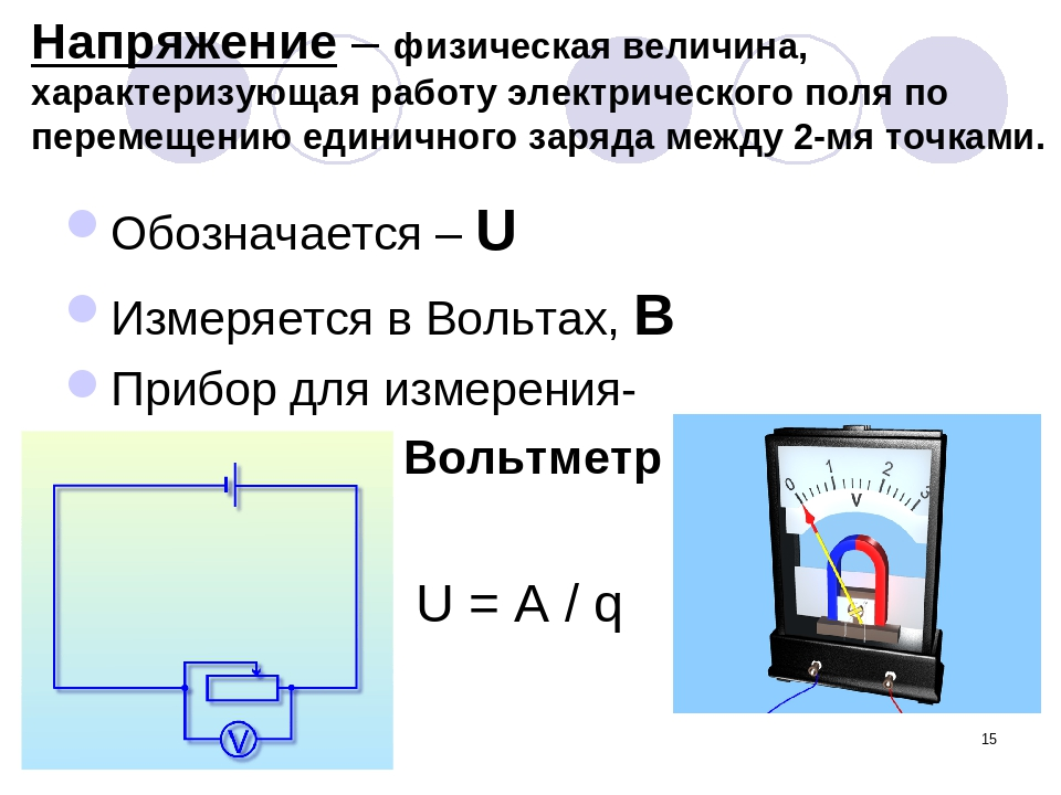 * Напряжение – физическая величина, характеризующая работу электрического пол...