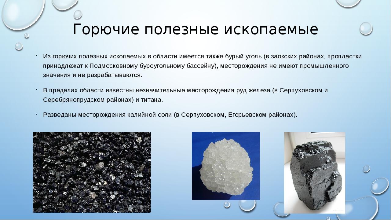 Горючие полезные ископаемые Из горючих полезных ископаемых в области имеется...