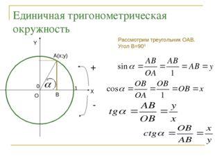 Единичная тригонометрическая окружность + - 0 1 Y X A(x;y) B Рассмотрим треуг