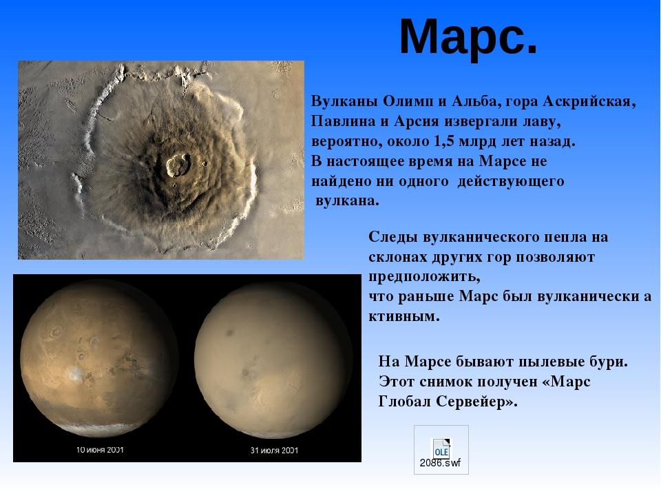 Марс. На Марсе бывают пылевые бури. Этот снимок получен «Марс Глобал Сервейер...