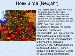 Новый год (Neujahr). Durch das neue Jahr in Deutschland Häuser mit bunten Gir