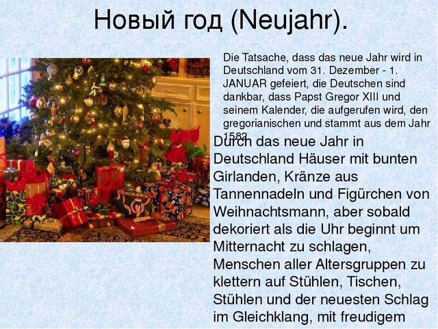 Новый год (Neujahr). Durch das neue Jahr in Deutschland Häuser mit bunten Gir...