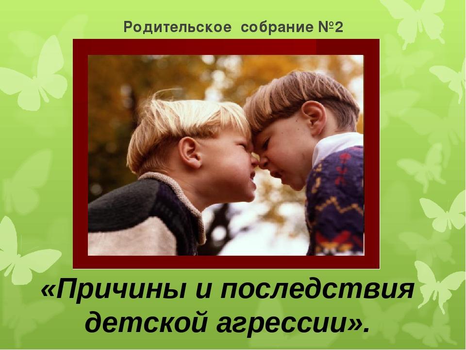 Родительское собрание №2 «Причины и последствия детской агрессии».