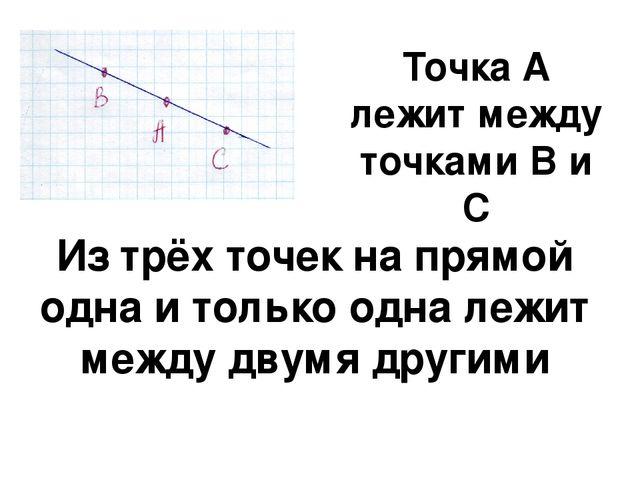 Точка А лежит между точками В и С Из трёх точек на прямой одна и только одна...