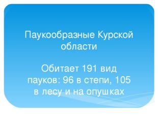 Паукообразные Курской области Обитает 191 вид пауков: 96 в степи, 105 в лесу