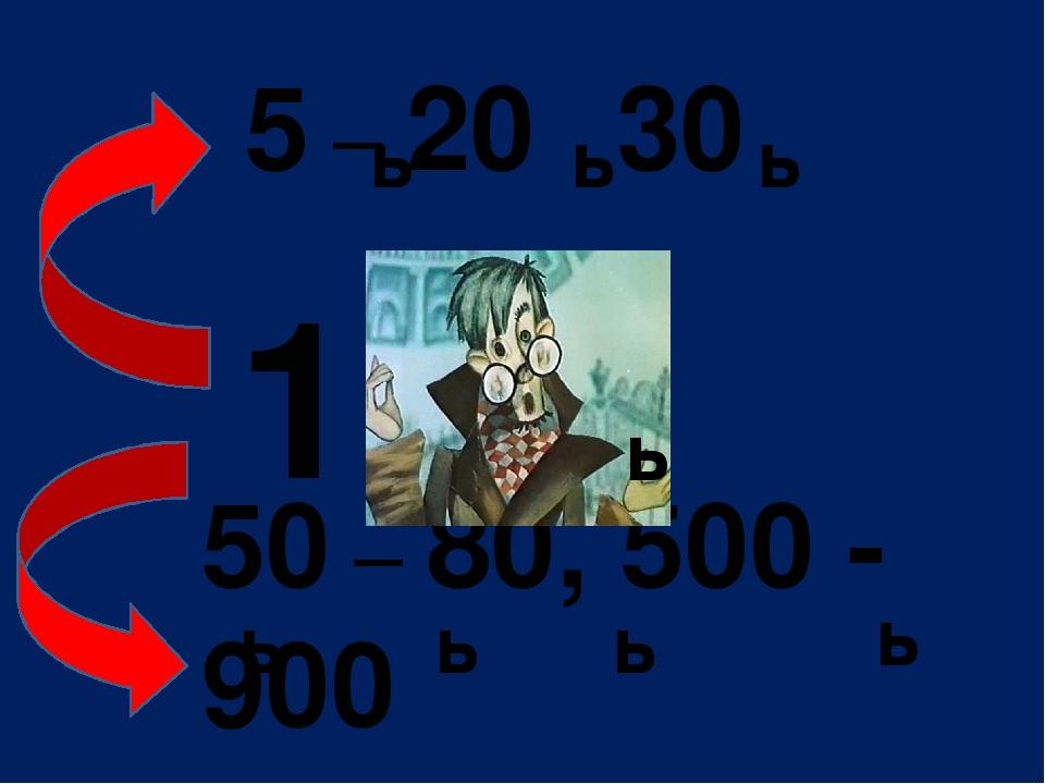 5 – 20 , 30 50 – 80, 500 - 900 ь ь ь ь 1 ь ь ь ь