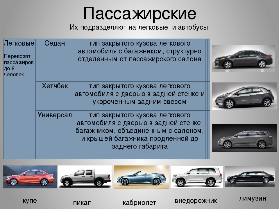 типы кузовов легковых автомобилей с фото бело-синих полосок