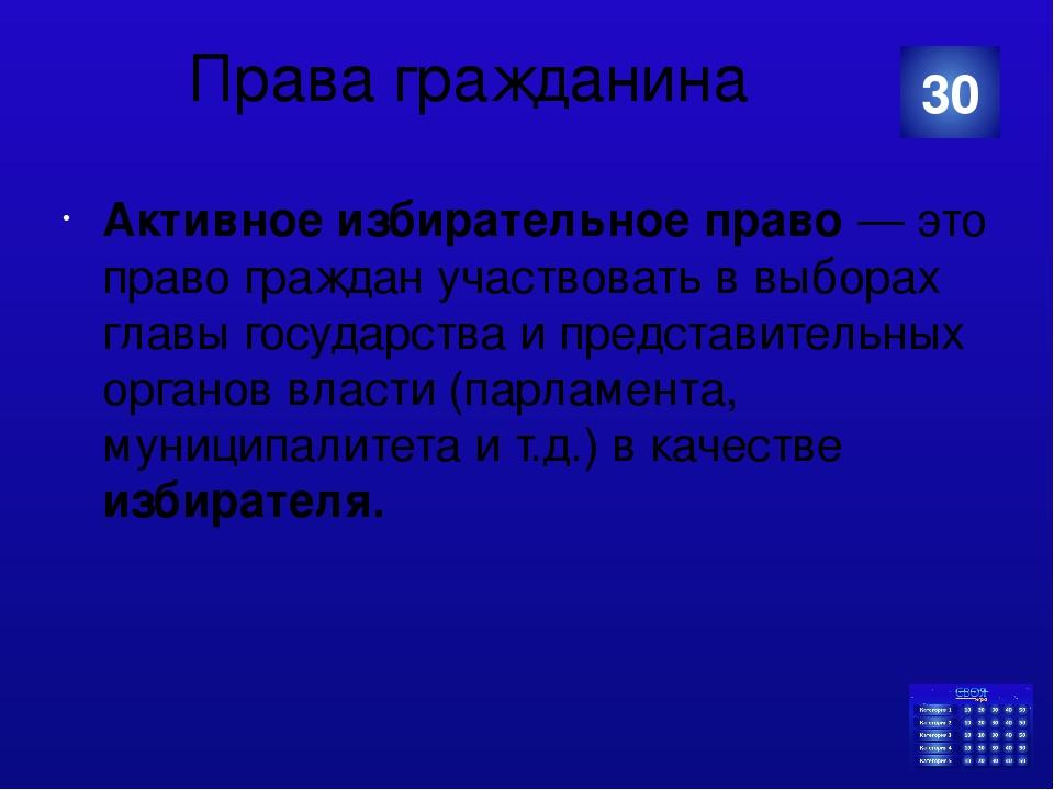 Права гражданина Акти́вное избира́тельное пра́во— это право граждан участвов...