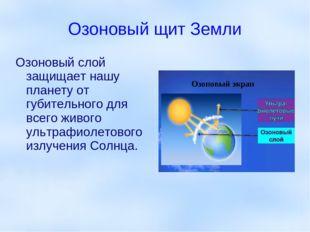 Озоновый щит Земли Озоновый слой защищает нашу планету от губительного для вс