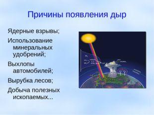 Причины появления дыр Ядерные взрывы; Использование минеральных удобрений; Вы