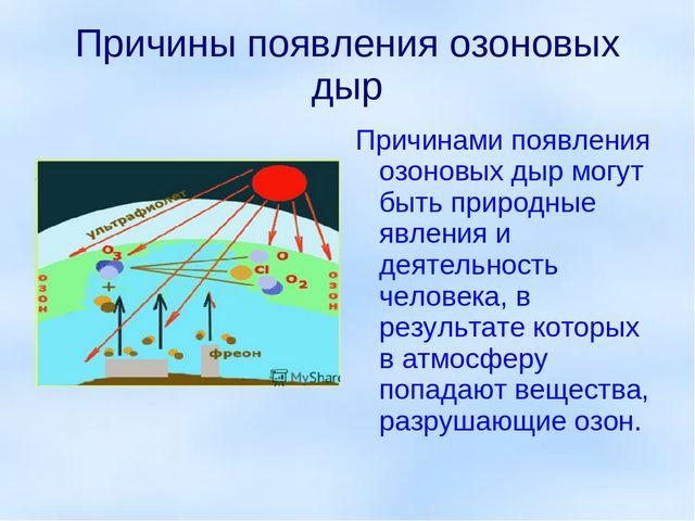 Причины появления озоновых дыр Причинами появления озоновых дыр могут быть пр...