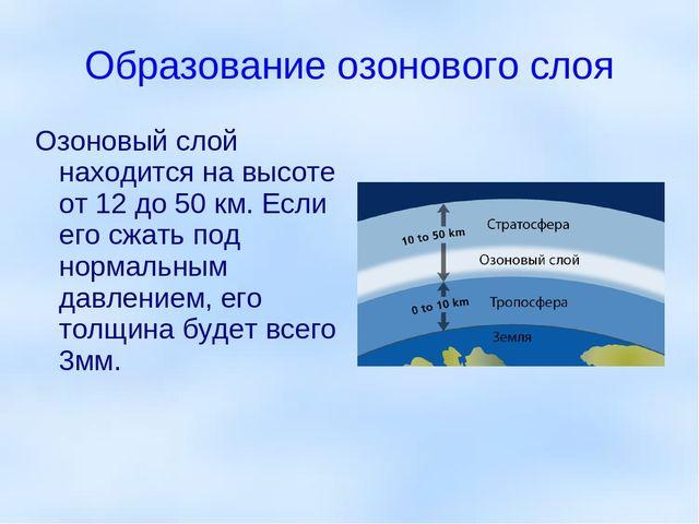 Образование озонового слоя Озоновый слой находится на высоте от 12 до 50 км....