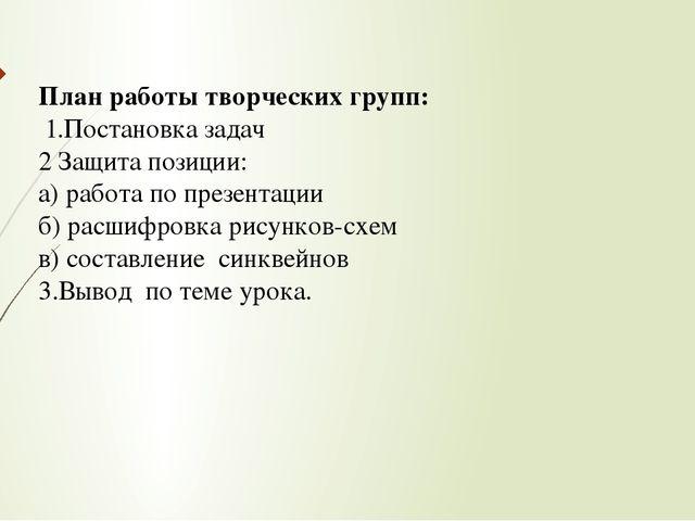 План работы творческих групп: 1.Постановка задач 2 Защита позиции: а) работа...