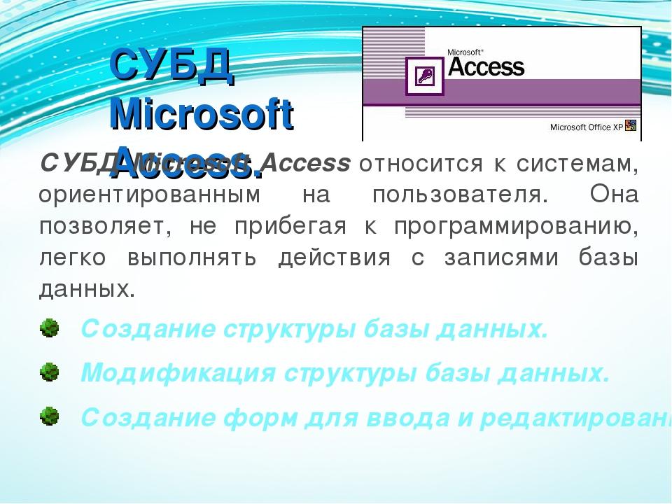 СУБД Microsoft Access. СУБД Microsoft Access относится к системам, ориентиров...