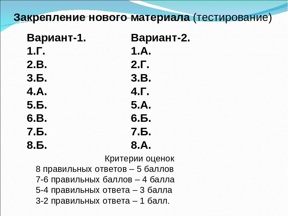 Закрепление нового материала (тестирование) Вариант-1. 1.Г. 2.В. 3.Б. 4.А. 5....