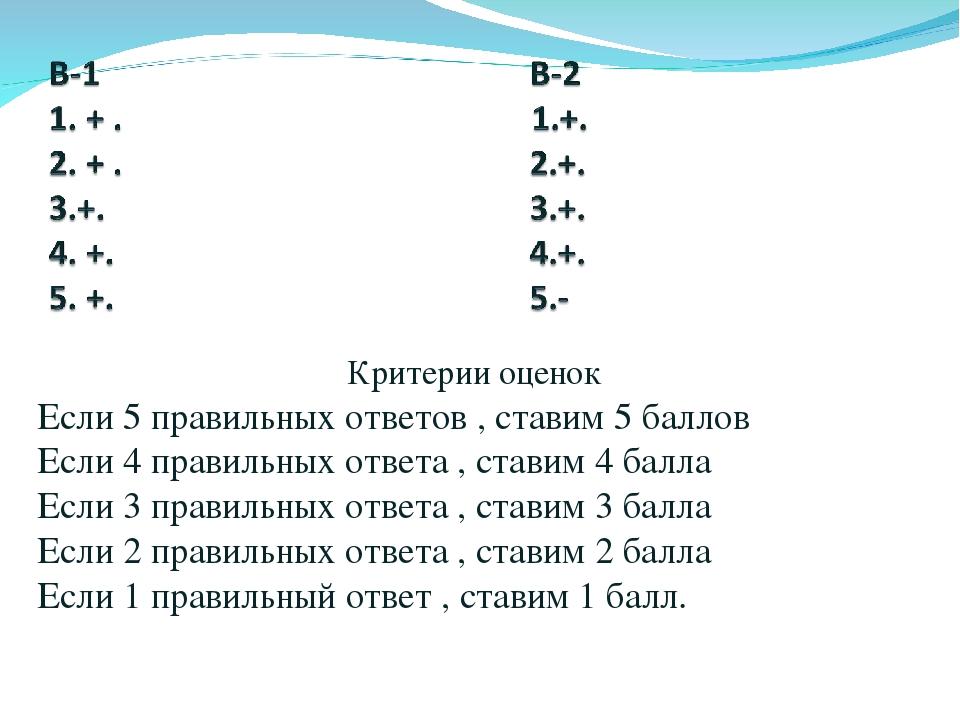 Критерии оценок Если 5 правильных ответов , ставим 5 баллов Если 4 правильных...