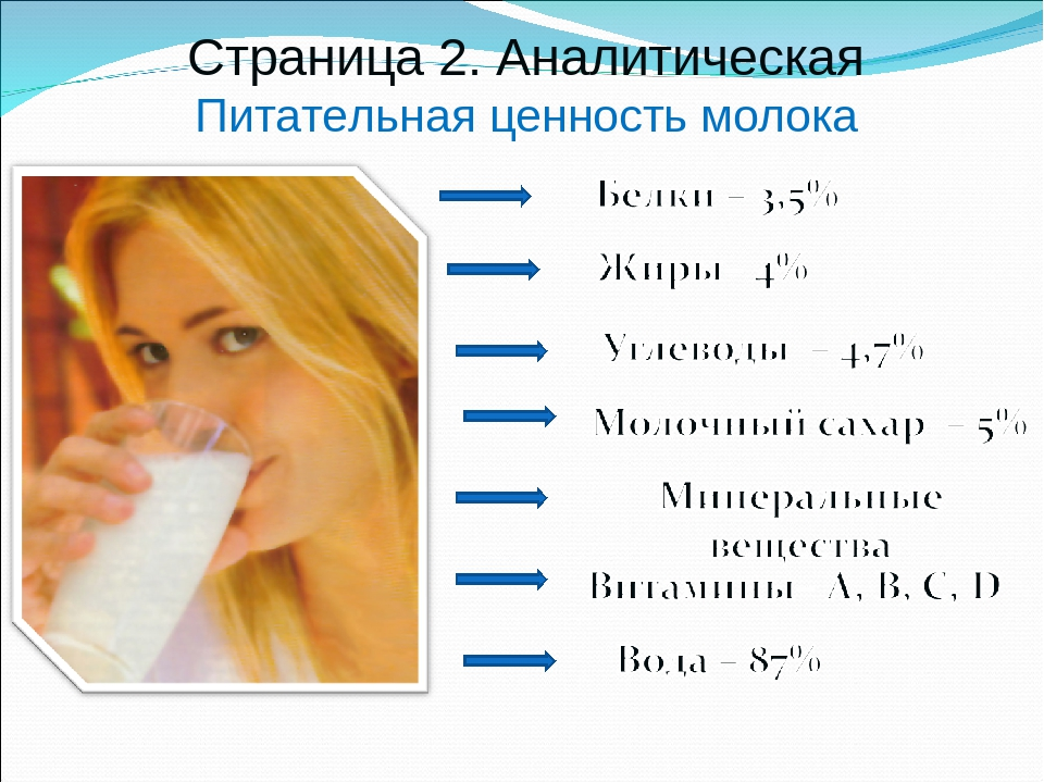 Страница 2. Аналитическая Питательная ценность молока