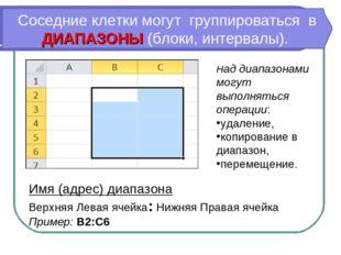 Имя (адрес) диапазона Верхняя Левая ячейка: Нижняя Правая ячейка Пример: B2:C