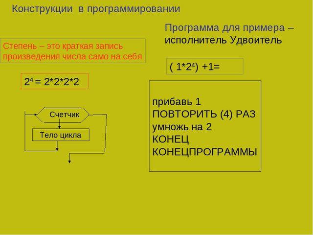 Конструкции в программировании Степень – это краткая запись произведения числ...