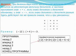 Деление. При делении двух чисел абсолютная величина делимого делится на абсол