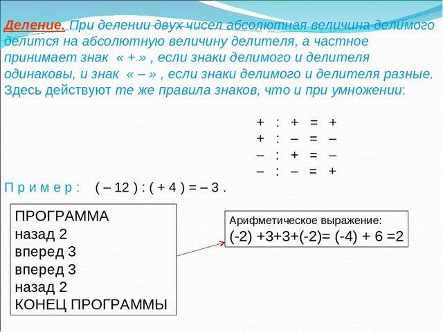 Деление. При делении двух чисел абсолютная величина делимого делится на абсол...