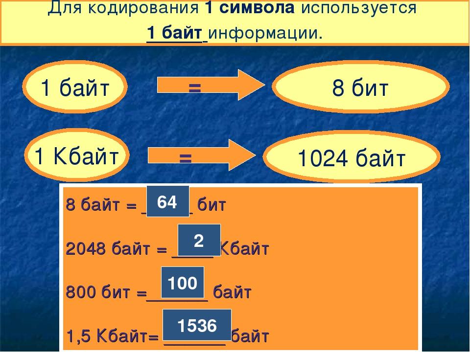 Для кодирования 1 символа используется 1 байт информации. 1 байт = 8 бит 1 Кб...