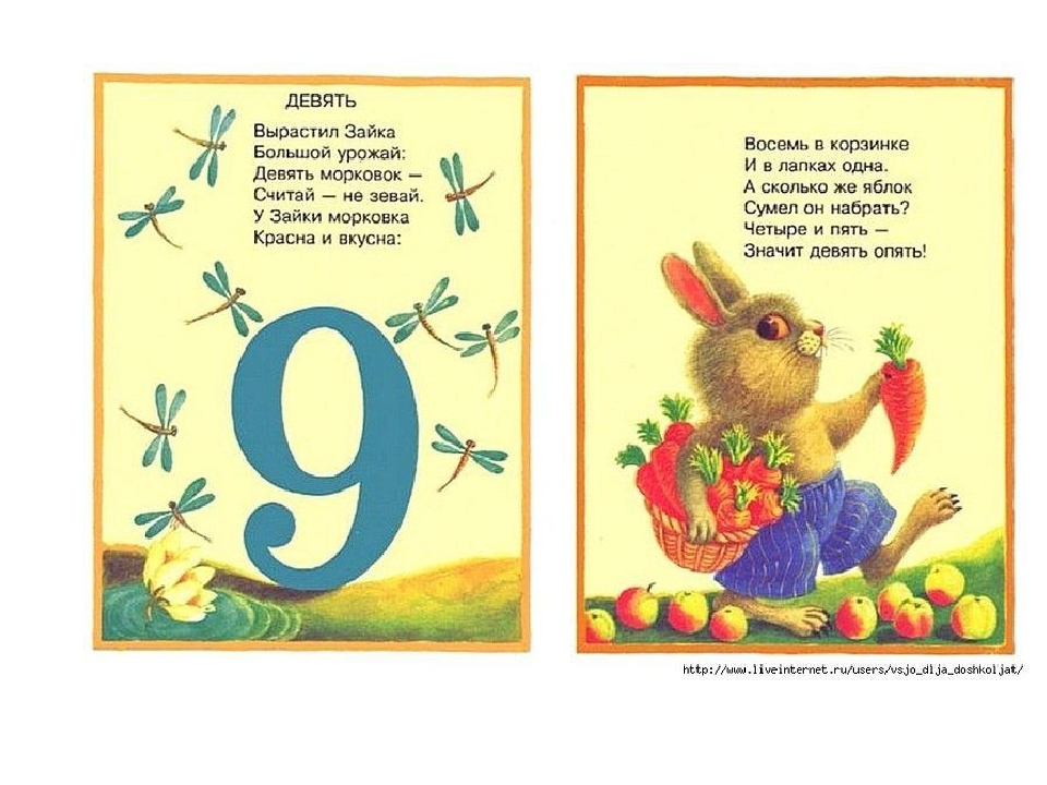Открытки конверта, картинки цифры 9 для 1 класса