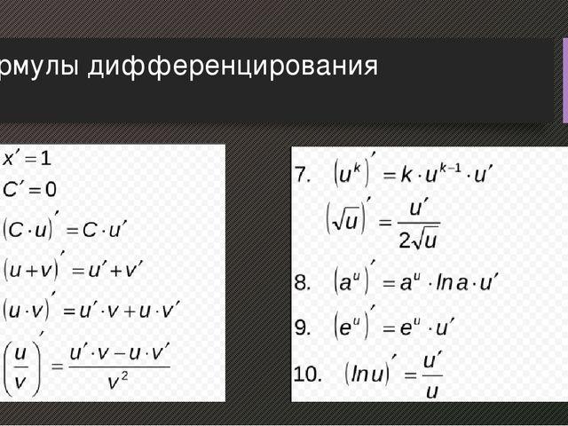 Шпаргалка word производных формулы