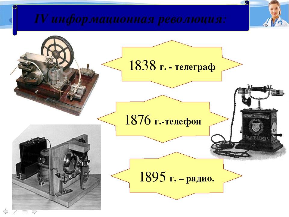 IV информационная революция: 1838 г. - телеграф 1876 г.-телефон 1895 г. – рад...