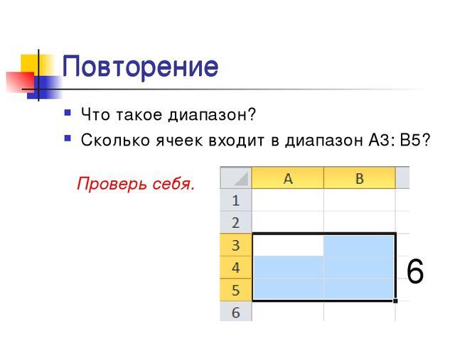 Повторение Что такое диапазон? Сколько ячеек входит в диапазон А3: B5? Провер...