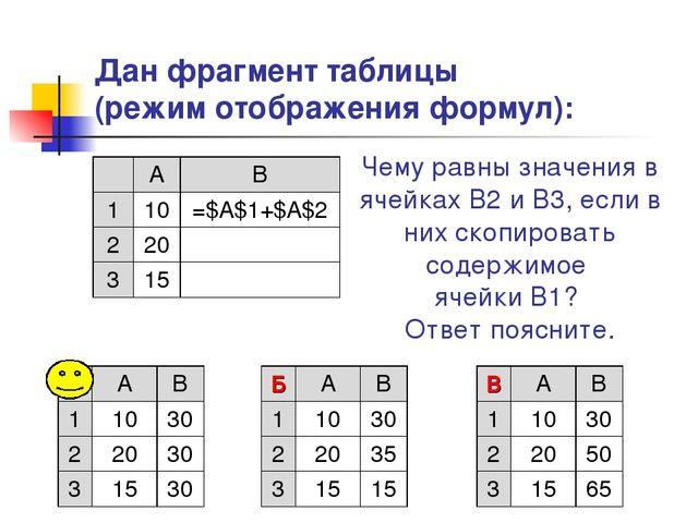 Дан фрагмент таблицы (режим отображения формул): Чему равны значения в ячейка...
