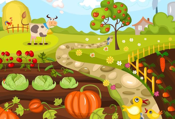Картинка с огородом для детей